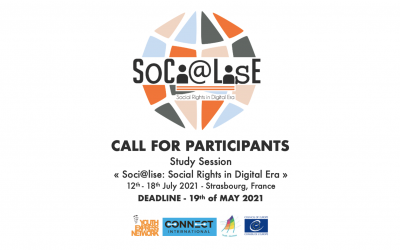 """Call for participants – Study Session """"Soci@lise: Social Rights in digital era"""" (Strasbourg, 12-18.07.2021)"""